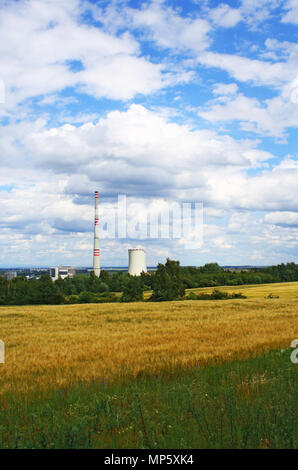 Power plant Chvaletice in nature, czech republic - Stock Photo