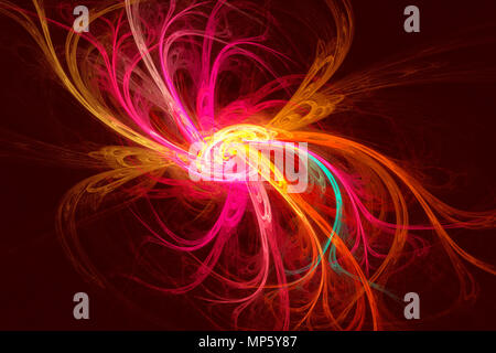 On a dark background abstract fractal image in the form of a fantastic flower. - Stock Photo
