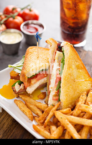 Fried egg and ham sandwich - Stock Photo