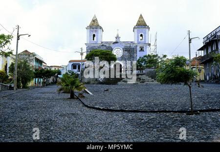 FCatholic Church Nossa Senhora da Conceicao, Sao Filipe, Fogo Island, Cape Verde, Africa - Stock Photo
