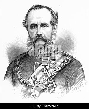 Engraving of Sir William Jervois, governor of New Zealand. From the Picturesque Atlas of Australasia Vol 3, 1886 - Stock Photo