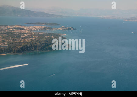 City of Corfu, Kerkyra, Greece, aerial view. Europe trip. view from airplane,Aerial drone image of a coast line in Corfu Greece. - Stock Photo