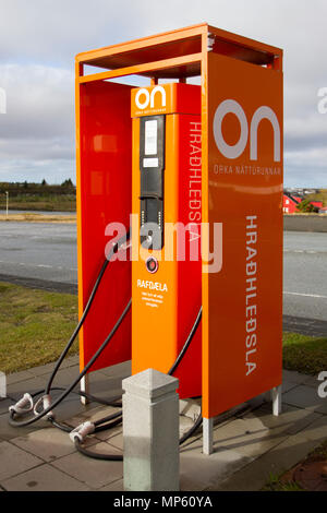 Orkusalan electric car charging points. Attractions on the Golden Circle Route, Iceland - Stock Photo