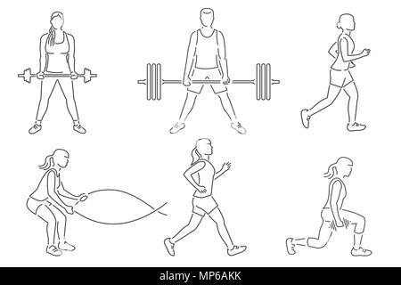 Set of fitness girls and man icon. Running, working out in gym with weight, exercises with battle ropes. Vector. For fitness centers emblems, gym signs. Thin line icon. - Stock Photo