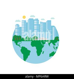 Happy Earth Day postcard with green city, car, wind turbine. Eco friendly ecology concept. World environment day background. Save the earth. - Stock Photo