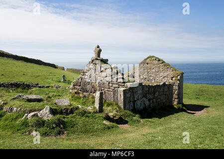 The Remains of St Helen's Oratory, Cape Cornwall, UK. - Stock Photo