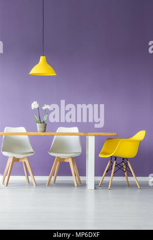 White floor and purple wall living room interior with simple, contrasting color chairs, table with a plant in a pot and a hanging yellow lamp - Stock Photo