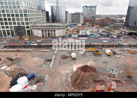 Building work in Centenary Square, Birmingham. The view is from the Library of Birmingham. - Stock Photo