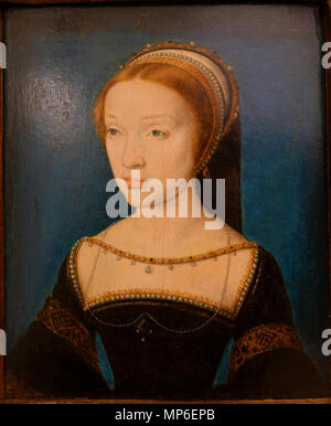 Portrait of a young woman Probably Jacqueline de Rohan .  English: Exhibit in the Bode-Museum, Berlin, Germany. This work is in the public domain because the artist died more than 100 years ago. Photography was permitted in the museum without restriction. . circa 1535-1536.   1017 Portrait of a Young Woman, probably Jacqueline de Rohan, by Corneille de Lyon, probably painted at Lyon, c. 1535-1536, oil on oak - Bode-Museum - DSC03351 - Stock Photo