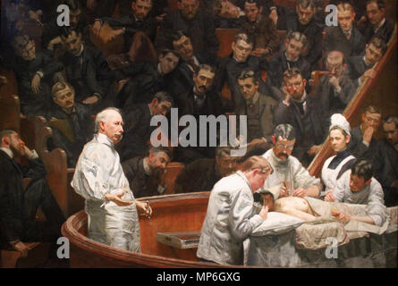 The Agnew Clinic . In 1889, students from the University of Pennsylvania School of Medicine commissioned Eakins to make a portrait of the retiring professor of surgery Dr. D. Hayes Agnew . Working day and night, Eakins completed the painting in three months, in time for it to be presented at the University commencement on May 1, 1889. 1889.   1168 The Agnew Clinic - Thomas Eakins - Stock Photo