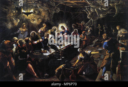 The Last Supper   between 1592 and 1594.   1194 Jacopo Tintoretto - The Last Supper - WGA22649 - Stock Photo