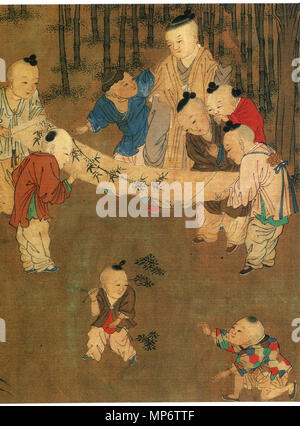 Traditional Chinese: 《長春百子圖》 One Hundred Children in the Long Spring detail   12th century AD, Song Dynasty.   942 One Hundred Children in the Long Spring2 - Stock Photo