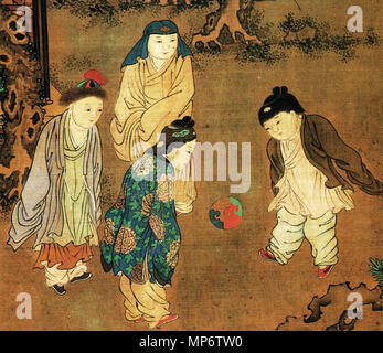 Traditional Chinese: 《長春百子圖》 One Hundred Children in the Long Spring detail   between circa 1130 and circa 1160s AD.   942 One Hundred Children in the Long Spring-crop - Stock Photo