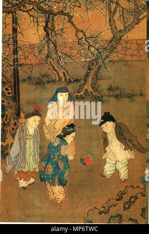 Traditional Chinese: 《長春百子圖》 One Hundred Children in the Long Spring detail   12th century AD, Song Dynasty.   942 One Hundred Children in the Long Spring - Stock Photo