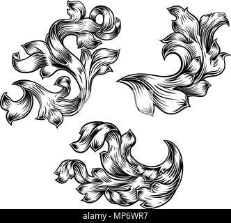 Floral Filigree Pattern Scroll Heraldry Design Set - Stock Photo