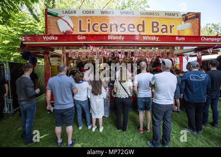 May 19, 2018 - Windsor, United Kingdom - People seen lining up to buy beer..The wedding of Prince Harry and Meghan Markle was held on 19 May 2018 in St George's Chapel at Windsor Castle in the United Kingdom, ordinarily people from UK and  the rest of the world came to celebrate and enjoy the royal wedding. (Credit Image: © Rahman Hassani/SOPA Images via ZUMA Wire) - Stock Photo