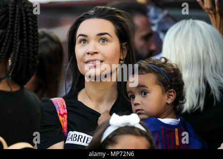 Barcelona, 20th May:  Phillippe Coutinho wife before the 2017/2018 LaLiga Santander Round 38 game between FC Barcelona and Real Sociedad at Camp Nou on May 20, 2018 in Barcelona, Spain. - Stock Photo