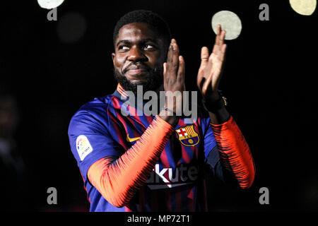 Barcelona, 20th May:  Samuel Umtiti of FC Barcelona during the 2017/2018 LaLiga Santander celebration at Camp Nou on May 20, 2018 in Barcelona, Spain. - Stock Photo