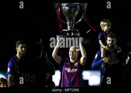 Barcelona, 20th May:  Andres Iniesta of FC Barcelona during the 2017/2018 LaLiga Santander celebration at Camp Nou on May 20, 2018 in Barcelona, Spain. - Stock Photo