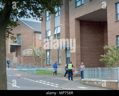 Glasgow, Scotland, UK 20th May. Scotstoun sees some of the escalating violence in the city as kingsway court and gardens under the shadow of the scotstoun towers sees a shooting. One man was shot as he sat in his car parked on the street as an increasing number of gang related shootings take place in the city.. Gerard Ferry/Alamy news - Stock Photo