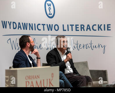 Cracow, Poland - May 21, 2018: Meeting with the Turkish writer, Nobel Prize laureate Orhan Pamuk in Krakow on the occasion of the 65th anniversary of the Literary Publishers. Poland Credit: Wieslaw Jarek/Alamy Live News - Stock Photo
