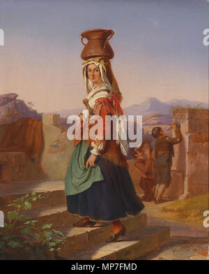 . Deutsch: Italienerin mit Wasserkrug am Brunnen, Öl auf Leinwand, 49 x 40 cm . 19th century. Anonymous 678 Italienerin mit Wasserkrug (19 Jh) - Stock Photo