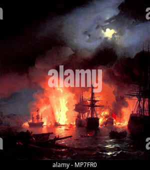 678 Ivan Constantinovich Aivazovsky - Battle of Çesme at Night - Stock Photo