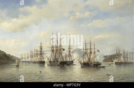 English: Dutch, English, French and American squadrons in Japanese waters during an expedition lead by French commander Constant Jaurès, September 1864. Nederlands: De Nederlandse, Engelse, Franse en Amerikaanse eskaders in de Japanse wateren tijdens de expeditie onder leiding van de Franse commandant Constant Jaurès, september 1864  1864.   681 J.E. van Heemskerck van Beest Dutch, English, French and American squadrons in Japanese waters 1864 - Stock Photo