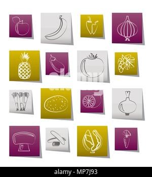 Different kind of fruit and vegetables icons - vector icon set - Stock Photo