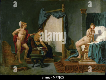 Apelles Painting Campaspe in the Presence of Alexander the Great  Unknown date.   690 Jacques-Louis David - Apelles Painting Campaspe in the Presence of Alexander the Great - Stock Photo