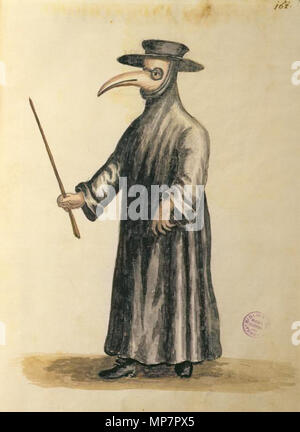 . English: Jan van Grevenbroeck (1731-1807), Venetian doctor during the time of the plague. Pen, ink and watercolour on paper. Museo Correr, Venice.[1], [2] Alternatively: Grevenbroeck, Jan the Younger, Masked doctor during the plague in Venice. From the Grevenbroeck manuscript; 17th century. Museo Correr, Venice, Italy. [3] The confusion should be clearable by the museum, but unfortunately the work seems not yet to be present in this online catalogue. before 1807. Jan van Grevenbroeck (1731-1807). Alternatively Grevenbroeck, Jan the Younger (fl. 17th cent.) 704 Jan van Grevenbroeck, Venetian  - Stock Photo