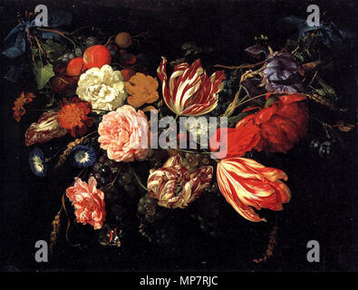 Festoon with Flowers and Fruit. This painting features at least four Semper Augustus tulips. These flowers were considered extremely valuable at the time this paintings commission. 1660s.   706 Jan-Davidsz-de-Heem-festoon-with-flowers-and-fruits-(1670) - Stock Photo