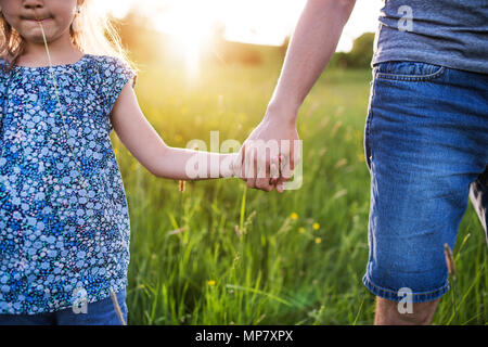 Father with a small daughter on a walk in spring nature at sunset. - Stock Photo