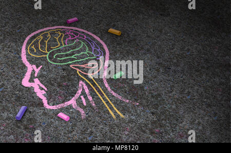 Concept of autism and autistic development disorder as a symbol of a communication and social psychology as a chalk drawing on asphalt in a 3 - Stock Photo