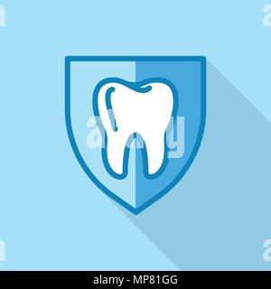 Tooth on shield logo icon, flat style