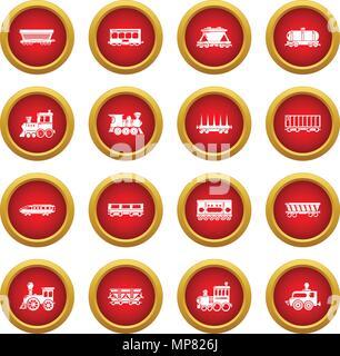 Railway carriage icons set, simple style - Stock Photo