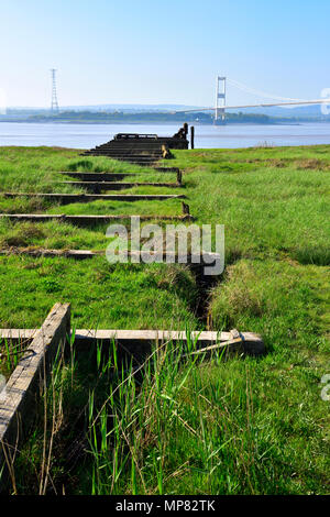 Severn Estuary, changes in transport the derelict pier of old Aust ferry used to cross the river and new bridge of M48 (old M4) - Stock Photo