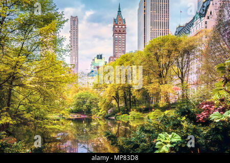 The Pond in Central Park, New York City - Stock Photo
