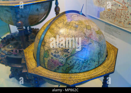 Munich, Germany - October 20, 2017:  Ancient globes in the hall of Deutsches museum devoted to cartography and geography - Stock Photo