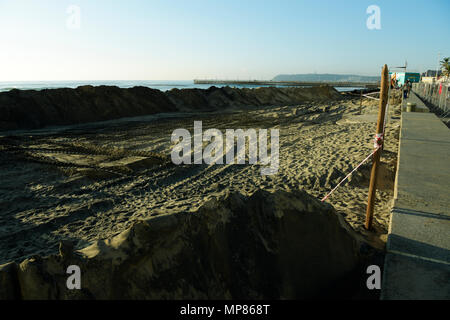 Durban, KwaZulu-Natal, South Africa, large heaps of sand on North beach, beachfront reclamation project, 2018, landscape, construction - Stock Photo