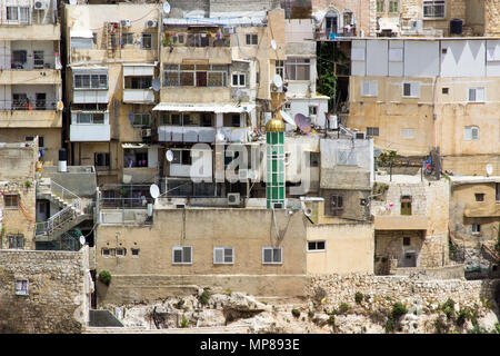 A view across the Kidron Valley to the Mount of Olives in Jerusalem from the steps to Hezekiah's Tunnel in the city of Jerusalem in Israel - Stock Photo