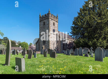 The Parish Church of Holy Trinity, Ashford-in-the-Water, near Bakewell, Derbyshire, England, UK. - Stock Photo