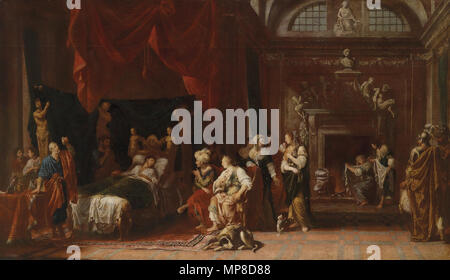. Deutsch: Antiochus und Stratonike (Plutarch XLIII), Öl auf Leinwand, 115 x 200 cm . by 1704.   Johann Heiss  (1640–1704)    Description German painter  Date of birth/death 19 June 1640 1704  Location of birth/death Memmingen Augsburg  Work location Oberschwaben  Authority control  : Q1170454 VIAF: 8284393 ISNI: 0000 0000 8195 6995 ULAN: 500014458 LCCN: nr2002001896 WGA: HEISS, Johann WorldCat 726 Johann Heiss Antiochus und Stratonike - Stock Photo