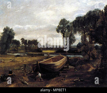 Boat-building near Flatford Mill  1815.   731 John Constable - Boat-building near Flatford Mill - WGA5182 - Stock Photo