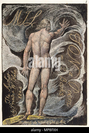 .  English: Milton a Poem copy A c1811 British Museum object 1 . circa 1811.    William Blake  (1757–1827)       Alternative names W. Blake; Uil'iam Bleik  Description British painter, poet, writer, theologian, collector and engraver  Date of birth/death 28 November 1757 12 August 1827  Location of birth/death Broadwick Street Charing Cross  Work location London  Authority control  : Q41513 VIAF: 54144439 ISNI: 0000 0001 2096 135X ULAN: 500012489 LCCN: n78095331 NLA: 35019221 WorldCat 895 Milton a Poem copy A c1811 British Museum object 1 - Stock Photo