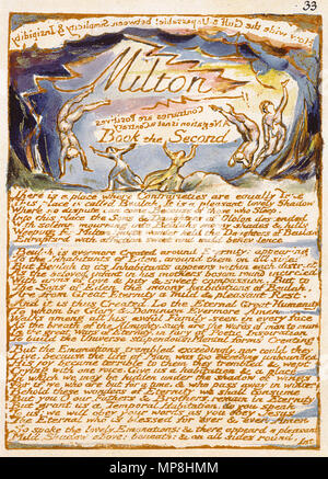 . English: Milton a Poem, copy D, object 33 (Bentley 30, Erdman 30 [33], Keynes 30) . 26 March 2007, 08:59:51.   William Blake (1757–1827)   Alternative names W. Blake; Uil'iam Bleik  Description British painter, poet, writer, theologian, collector and engraver  Date of birth/death 28 November 1757 12 August 1827  Location of birth/death Broadwick Street Charing Cross  Work location London  Authority control  : Q41513 VIAF:54144439 ISNI:0000 0001 2096 135X ULAN:500012489 LCCN:n78095331 NLA:35019221 WorldCat     This is a faithful photographic reproduction of a two-dimensional, public - Stock Photo