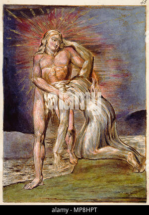 . English: Milton a Poem, copy D, object 45 (Bentley 41, Erdman not numbered, Keynes 41) . 26 March 2007, 09:00:21.   William Blake (1757–1827)   Alternative names W. Blake; Uil'iam Bleik  Description British painter, poet, writer, theologian, collector and engraver  Date of birth/death 28 November 1757 12 August 1827  Location of birth/death Broadwick Street Charing Cross  Work location London  Authority control  : Q41513 VIAF:54144439 ISNI:0000 0001 2096 135X ULAN:500012489 LCCN:n78095331 NLA:35019221 WorldCat     This is a faithful photographic reproduction of a two-dimensional, p - Stock Photo