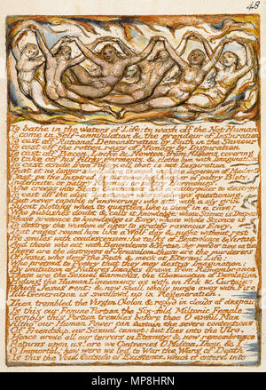 . English: Milton a Poem, copy D, object 48 (Bentley 43, Erdman 41 [48], Keynes 43) . 26 March 2007, 09:00:28.   William Blake (1757–1827)   Alternative names W. Blake; Uil'iam Bleik  Description British painter, poet, writer, theologian, collector and engraver  Date of birth/death 28 November 1757 12 August 1827  Location of birth/death Broadwick Street Charing Cross  Work location London  Authority control  : Q41513 VIAF:54144439 ISNI:0000 0001 2096 135X ULAN:500012489 LCCN:n78095331 NLA:35019221 WorldCat     This is a faithful photographic reproduction of a two-dimensional, public - Stock Photo