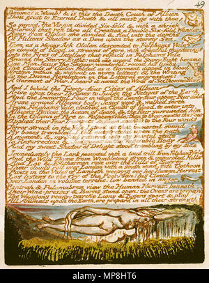 . English: Milton a Poem, copy D, object 49 (Bentley 44, Erdman 42 [49], Keynes 44) . 26 March 2007, 09:00:30.   William Blake (1757–1827)   Alternative names W. Blake; Uil'iam Bleik  Description British painter, poet, writer, theologian, collector and engraver  Date of birth/death 28 November 1757 12 August 1827  Location of birth/death Broadwick Street Charing Cross  Work location London  Authority control  : Q41513 VIAF:54144439 ISNI:0000 0001 2096 135X ULAN:500012489 LCCN:n78095331 NLA:35019221 WorldCat     This is a faithful photographic reproduction of a two-dimensional, public - Stock Photo