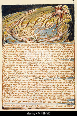 . English: Milton a Poem, copy D, object 2 Bentley 3, Erdman 2, Keynes 3) . 26 March 2007.   William Blake (1757–1827)   Alternative names W. Blake; Uil'iam Bleik  Description British painter, poet, writer, theologian, collector and engraver  Date of birth/death 28 November 1757 12 August 1827  Location of birth/death Broadwick Street Charing Cross  Work location London  Authority control  : Q41513 VIAF:54144439 ISNI:0000 0001 2096 135X ULAN:500012489 LCCN:n78095331 NLA:35019221 WorldCat     This is a faithful photographic reproduction of a two-dimensional, public domain work of art. - Stock Photo